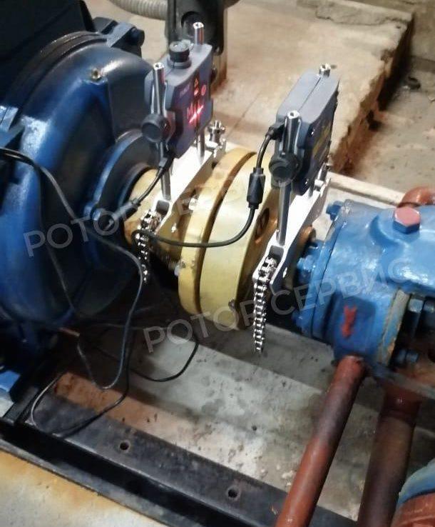 Фото лазерной центровки электродвигателя